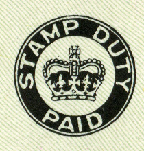 Stamp Duty Paid mark for British cheques from 1956, By British Government. (Scan of original) [Public domain], via Wikimedia Commons