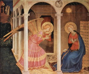 The Annunciation of Cortona (detail), Fra Angelico, public domain via Wikimedia Commons