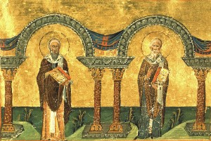 St Athanasius and St Cyril of Alexandria (Menologion of Basil)